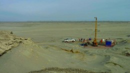 A drill site at Focus Ventures' 70%-owned Bayovar 12 phosphate property in northern Peru's Sechura district, 70 km south of the city of Piura.  Credit: Focus Ventures