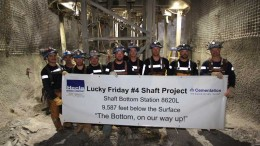 Workers commemorate sinking the deepest mine shaft in the United States at Hecla Mining's Lucky Friday silver-lead-zinc mine in Idaho. Credit: Cementation.