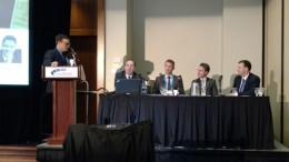At the PearTree Securities-sponsored panel on alternative financing methods at the Prospectors & Developers Association of Canada convention in Toronto in March, from left: Anthony Vaccaro, publisher of The Northern Miner; David Harquail, president and CEO of Franco-Nevada; Stephen de Jong, president and CEO of Integra Gold; Trent Mell, president and head of mining at PearTree Securities; and Dan Wilton, director at Pacific Road Capital. Photo by John Cumming.