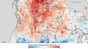 Map showing land surface temperature from April 26 to May 3, 2016, compared to the 2000–2010 average for the same one-week period. Red areas were hotter than the long-term average. Credit: NASA Earth Observatory.