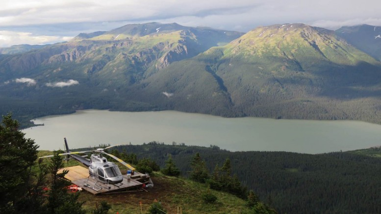 A helicopter at Skeena Resources' Spectrum gold-copper project in Northwest B.C. Credit: Skeena Resources.