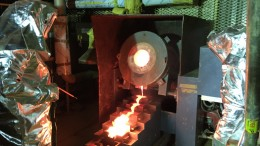 A gold pour at the Aurora project. Credit: Guyana Goldfields.
