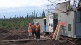 A drill site at Osisko Mining's Windfall Lake gold project in Quebec, 200 km northeast of Val-d'Or. Credit: Osisko Mining.