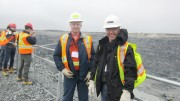 Detour Gold's open-pit manager Craig Rintoul (left) and chief operating officer Pierre Beaudoin at the Detour Lake gold mine near Cochrane, Ontario. Photo by Salma Tarikh.