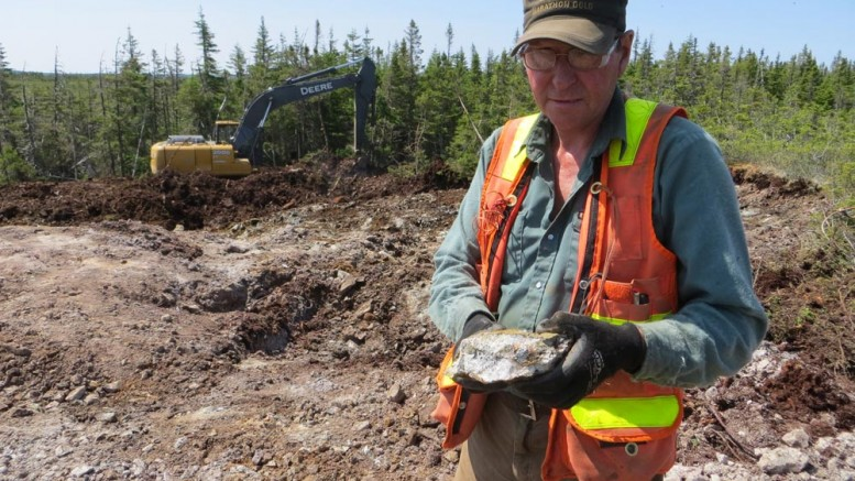 Marathon Gold prospector Dave Galley examines visible gold in coarse cubic pyrite from large quartz-tourmaline-pyrite at the Sprite deposit at the Valentine Lake gold property in Newfoundland. Credit: Marathon Gold.