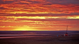Sunset at Agnico Eagle's advanced-stage Meliadine gold project in Nunavut Territory. Credit: Agnico Eagle Mines.
