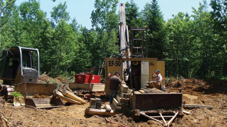 Drillers at Wolfden Resources' Tetagouche lead-zinc-silver project in the New Brunswick's Bathurst mining camp. Credit: Wolfden Resources.