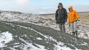 Grenville Thomas and North Arrow geologist Barbara Kupsch at the Q1-4 kimberlite at the Qilalugaq project in Nunavut.