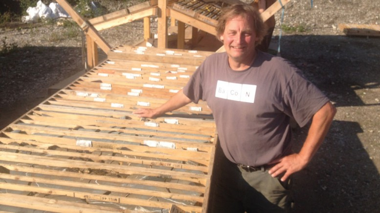 Peter Tallman, president and CEO of Klondike Gold, at the company's core shack outside Dawson City, Yukon. Photo by Lesley Stokes.