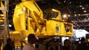 The Komatsu PC 5500 mining shovel on display at MINExpo International in Las Vegas. Credit: Virtualminexpo.com