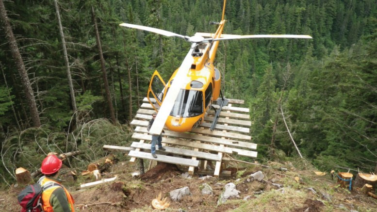 A helicopter at Dolly Varden Silver's namesake silver project in northwest British Columbia.Credit: Dolly Varden Silver.