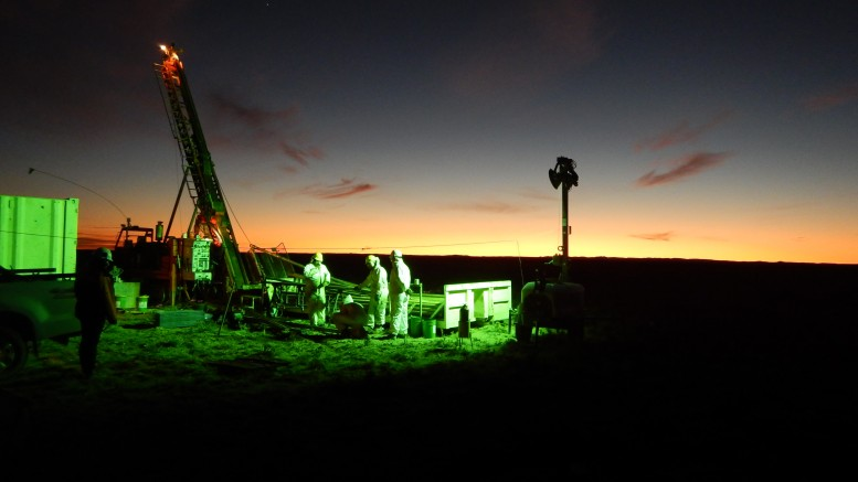 Diamond drillers working the night shift at Mirasol Resources and AngloGold Ashanti's Claudia joint-venture gold-silver project in Argentina's Santa Cruz province. Credit: Mirasol Resources.