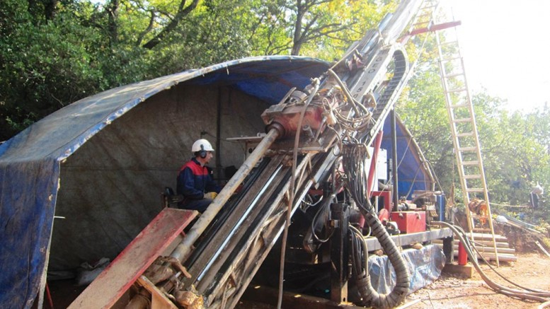 A drill rig at Eurasian Minerals' Akarca gold-silver project in Turkey in late 2013.Photo by Salma Tarikh.