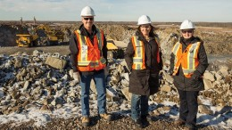 Standing beside the pit at new Gold's Rainy River gold mine in northwestern Ontario. Credit: New Gold.