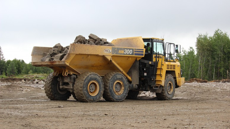 A dump truck at New Gold's Rainy River project in northwestern Ontario. Credit: New Gold.