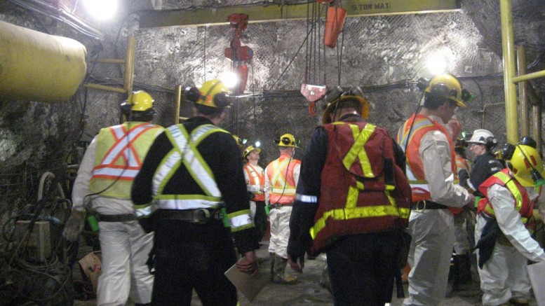 Workers at Kirkland Lake Gold's Macassa project. Credit: Kirkland Lake Gold.