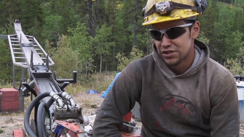 "Cropped screenshot from the film ""Koneline: our land beautiful"" showing a Tahltan driller in northwestern B.C."