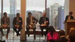 From left: Mariano Ortego, a partner at PwC Canada; Pablo Breard, Scotiabank's vice-president and head of international economics; Ignacio Celorrio, partner-in-charge of the Natural Resources Group at Quevedo Abogado; Andrew Cheatle, the executive director of the Prospectors & Developers Association of Canada; Trish Saywell, The Northern Miner's senior staff writer.