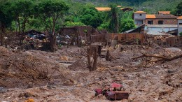 Damage from the Samarco tailings dam failure late last year in Mariana, Brazil. Photo by Jose Moraes.