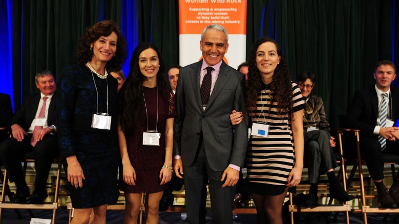 At Women Who Rock's Auction for Action event in Toronto in early 2016, from left: Lisa Davis, legal & corporate affairs at PearTree Securities; Konstanca Tere, chemical engineering undergraduate at Ryerson University; David Garofalo, then president and CEO of Hudbay Minerals; and Lorena Tere, chemical engineer-in-training recently graduated from the University of Toronto. Credit: Women Who Rock.