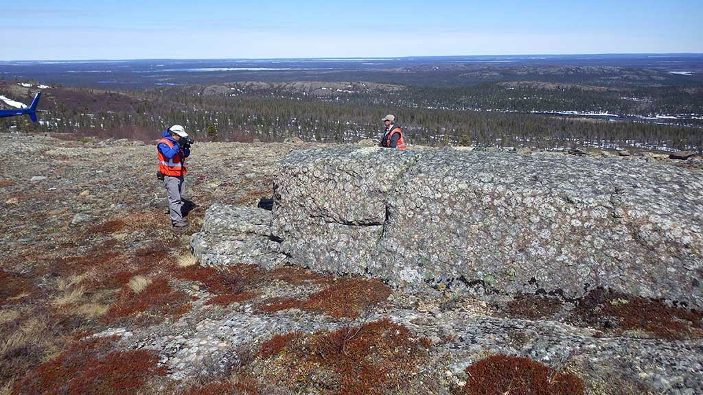 Exploring Northern Shield's Huckleberry project in the Labrador Trough, 100 km north of Schefferville, Quebec. Credit: Northern Shield.