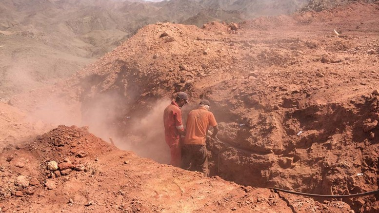 Workers channel-sample a trench in the Hamama West area of Aton Resources' Abu Marawat gold project in Egypt in 2016. Credit: Aton Resources.