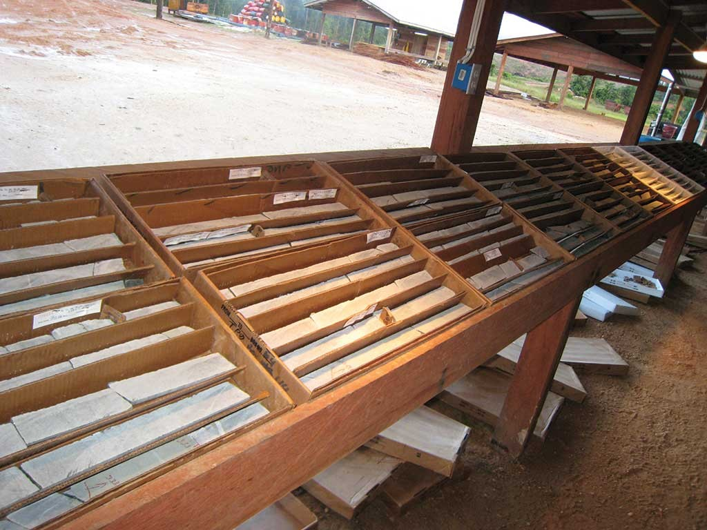 Drill core on display at Sandspring Resources' Toroparu gold project in Guyana. Credit: Sandspring Resources.