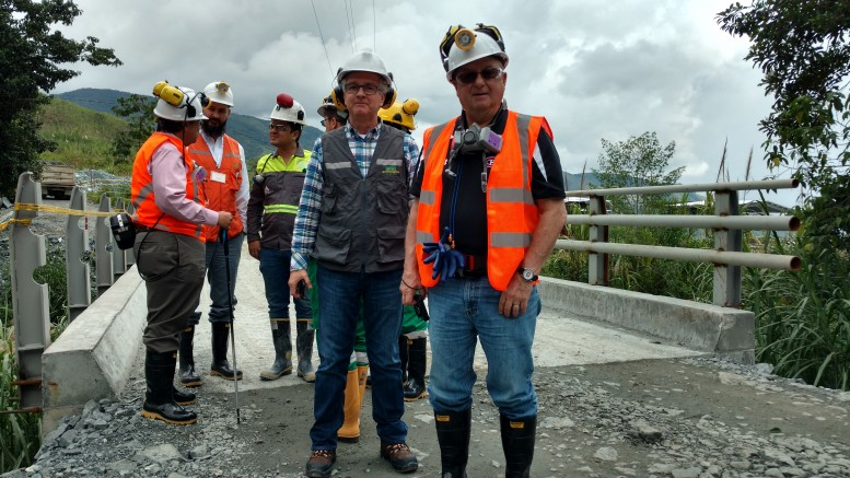 At Antioquia Gold's Cisneros gold mine project in Colombia, from front left: Julián Villarruel, Antioquia's former president and CEO, who now serves as president of Antioquia Gold's Colombian subsidiary; and Jim Decker, executive vice-president of investor relations. Photo by John Cumming.