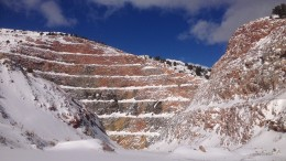 The Gold Pick pit, one of three mining targets for production at McEwen Mining's Gold Bar project in Nevada. Photo by Lesley Stokes.