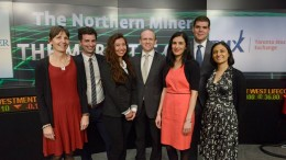 The Northern Miner's Toronto editorial team helps open the TSX in 2015, from left: Trish Saywell, Adrian Pocobelli, Isa Cunanan, John Cumming, Salma Tarikh, David Perri and Alisha Hiyate. Credit: TSX Group.