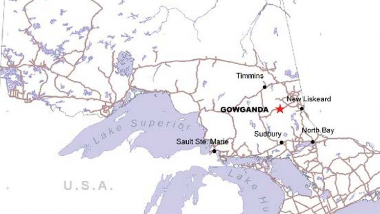 A map showing the location of Brixton Metals' newly acquired Gowganda mine in Ontario. Credit: Brixton Metals.
