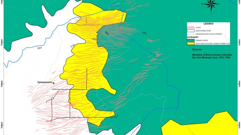 A map of permitted areas of the Páramo district in Colombia. Credit: Ministry of the Environment in Colombia.