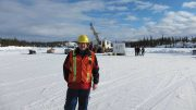 TerraX Minerals CEO Joe Campbell at a drill site at the Yellowknife City gold project in the Northwest Territories. Credit: TerraX Minerals.