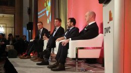 The junior mining panel at PwC's Mega Mining Mines event, from left: moderator David Redford of Cassels Brock; Steve de Jong, CEO of Integra Gold; Ari Sussman, CEO of Continental Gold; and Leigh Curyer, CEO of NexGen Energy. Photo by Alisha Hiyate.