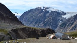 IDM Mining's Red Mountain camp in northwest B.C., overlooking a core shack. Photo by Matthew Keevil.