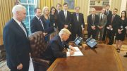 U.S. President Donald J. Trump signing an Executive Order giveing conditional approval for Energy Transfer Partners' Dakota Access Pipeline for Bakken crude and TransCanada's Keystone XL pipeline to bring Canadian diluted bitumen to refineries in Texas. Credit: White House.