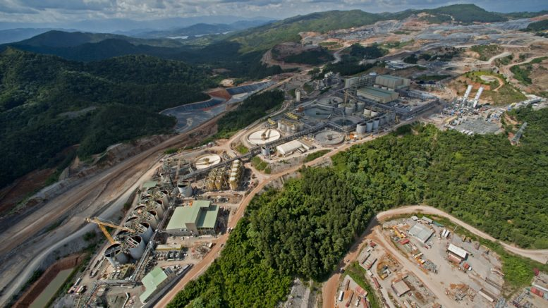 An aerial view of the milling facilities at the Pueblo Viejo gold mine. The mine is held 60% by Barrick Gold and 40% by Goldcorp. Credit: Goldcorp