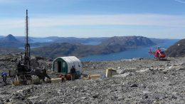Drillers at the Sorensen deposit, part of Greenland Energy and Minerals' Kvanefjeld REE-uranium project on the southwest coast of Greenland. Credit:Greenland Energy and Minerals.