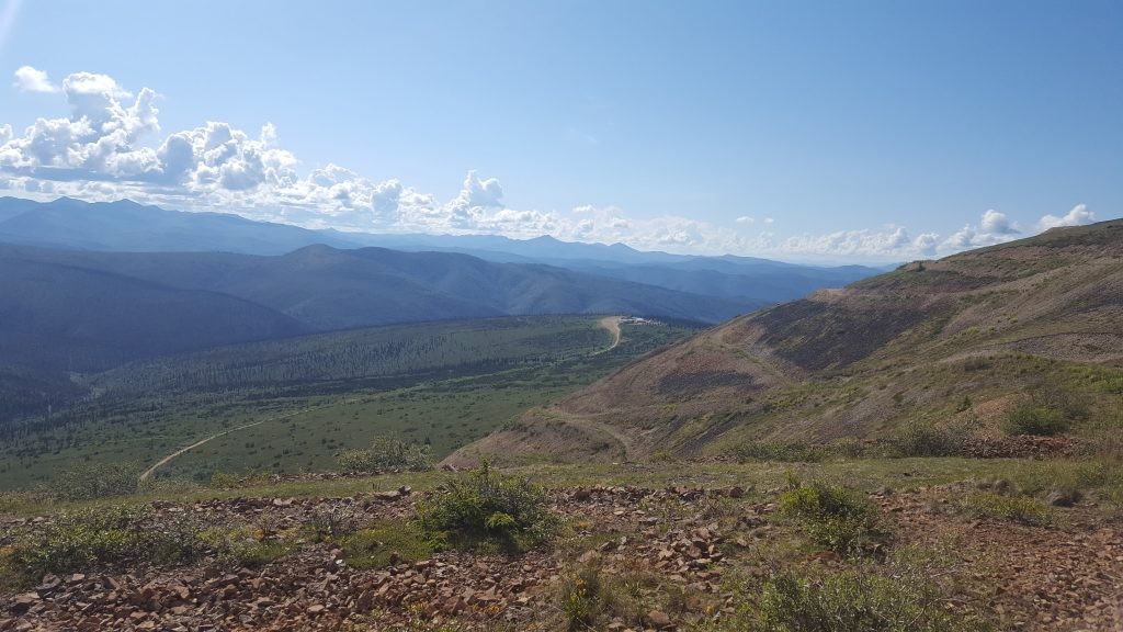 Looking down hill towards Western Copper and Gold's camp at the Casino project. Photo by Matthew Keevil.