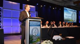 Pierre Lassonde, chairman of Franco-Nevada and master of ceremonies at the 29th annual Canadian Mining Hall of Fame induction ceremony in Toronto in January. Credit: Keith Houghton Photography.