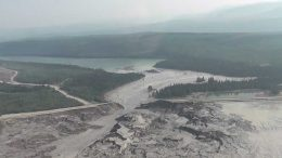 Material flows out of the tailings pond breach in August 2014 at Imperial Metals' Mount Polley gold-copper mine, 140 km southeast of Quesnel, British Columbia. Credit: Cariboo Regional District.