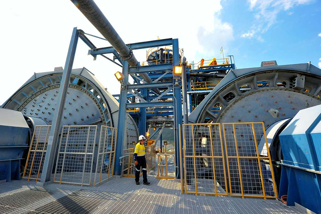 The ball mill at OceanaGold's Didipio open-pit gold mine in the Philippines. Credit: OceanaGold.