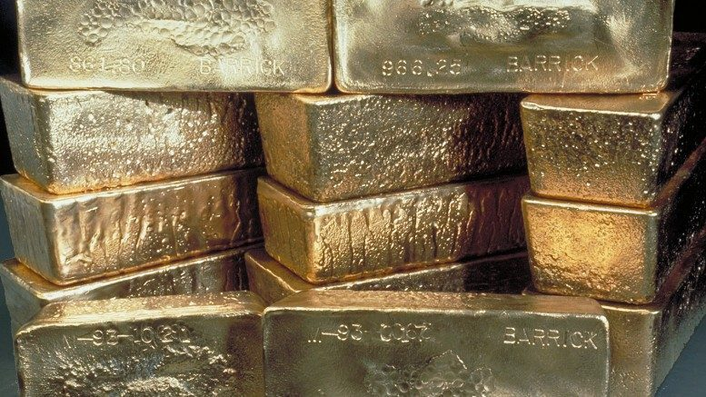 Stacked gold bars produced by Toronto-based Barrick Gold. Credit: Barrick Gold