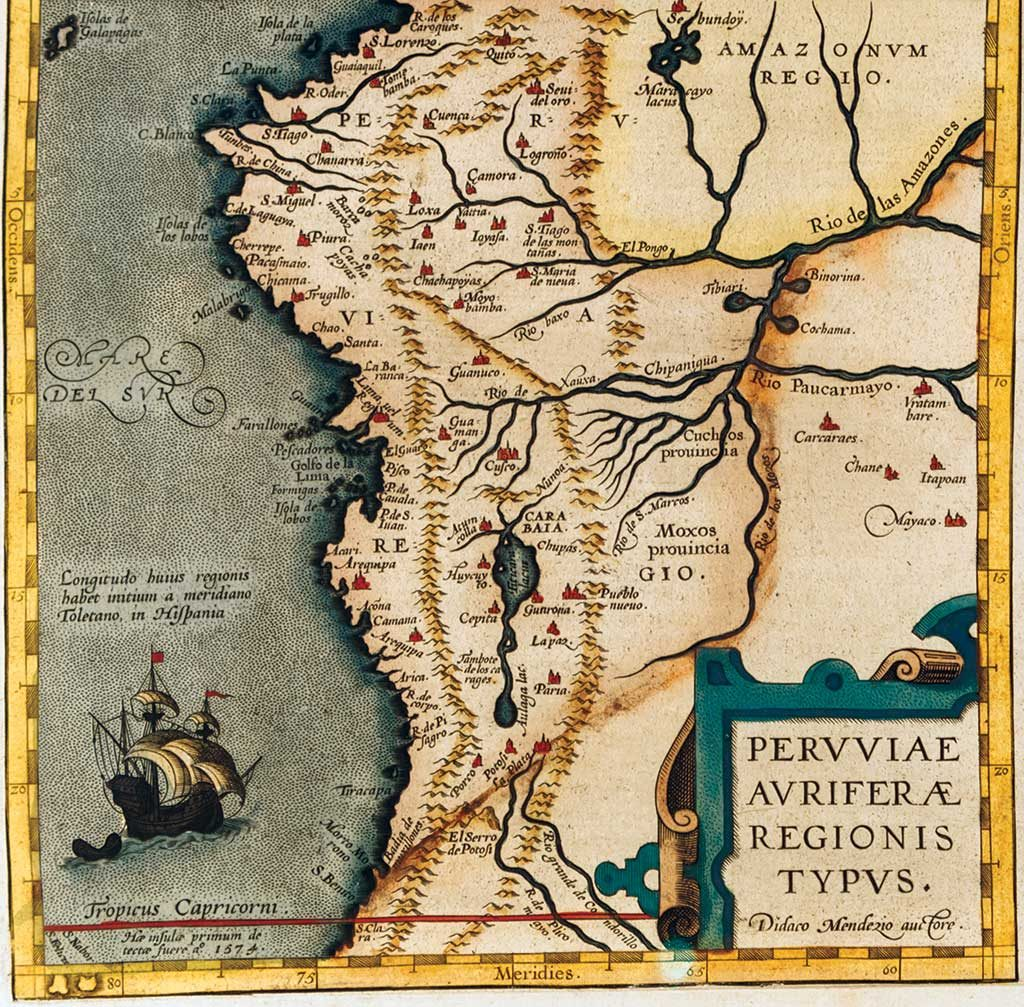 """This map titled """"The Gold Regions of Peru"""" was produced by Flemish cartographer Abraham Ortelius in 1574 and references storied gold-mining centres Logrono and Sevilla del Oro in modern-day Ecuador. Credit: Auriana Resources."""