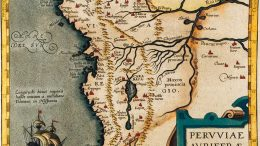 "This map titled ""The Gold Regions of Peru"" was produced by Flemish cartographer Abraham Ortelius in 1574 and references storied gold-mining centres Logrono and Sevilla del Oro in modern-day Ecuador. Credit: Auriana Resources."