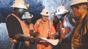 Randgold Resources CEO Mark Bristow (third from left) underground in the Yalea mine, part of the Loulo-Gounkoto gold complexin Mali. Credit: Randgold Resources.