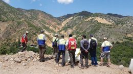 Analysts look north on a June 2016 tour of Mariana Resources and Lydia's Hot Maden copper-gold project in northeastern Turkey. Credit: Mariana Resources.