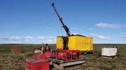 Workers at a drill on Agnico Eagle Mines' Amaruq gold property in Nunavut. Credit: Agnico Eagle Mines.