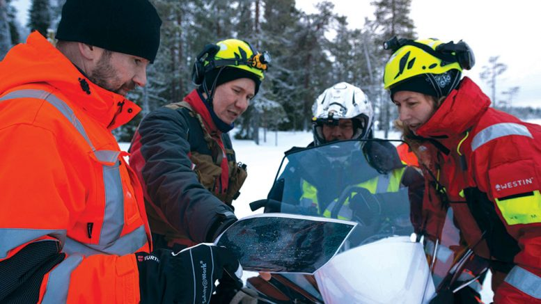 At Mawson Resources' Rajapalot gold project in Northern Finland, from left: geotechnician Esa Pulliainen; geologist Janne Kinnunen; geotechnician Kimmo Neuvonen; and director of environment Noora Ahola. Credit: Mawson Resources.