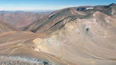 The Filo del Sol project, 140 km southeast of the city of Copiapo, Chile, straddles the border between Argentina and Chile. Credit: Filo Mining.
